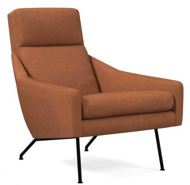 Austin Stationary Chair, Poly, Vegan Leather, Saddle, Dark Pewter - West Elm