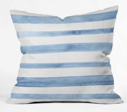 BLUE WATERCOLOR STRIPES Outdoor Throw Pillow - Wander Print Co.