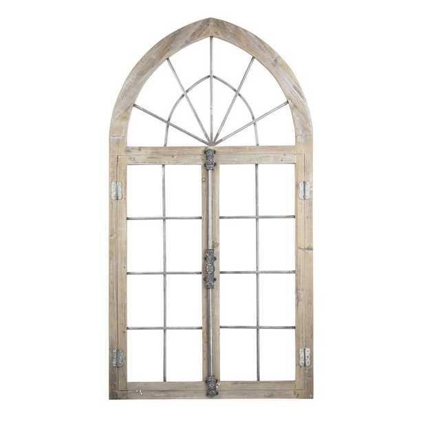 Farmhouse Wood and Metal Arched Window Door Wall Decor - Wayfair