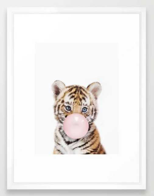 Bubble Gum Tiger Cub Framed Art Print - Society6
