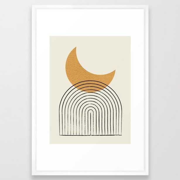 Moon mountain gold - Mid century style Framed Art Print - Society6