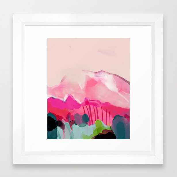 pink mountain Framed Art Print - 12x12 - vector white frame - Society6
