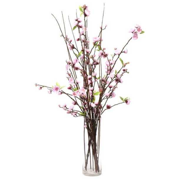 Cherry Blossoms Floral Arrangement in Vase / Pink - Wayfair