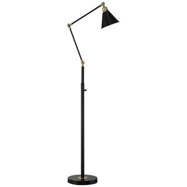 Wray Black and Antique Brass Adjustable Floor Lamp - Lamps Plus