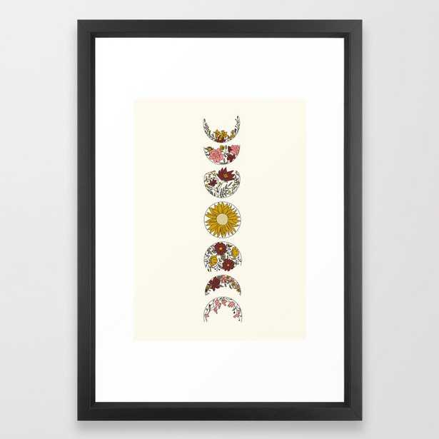 Floral Phases of the Moon Framed Art Print - Society6