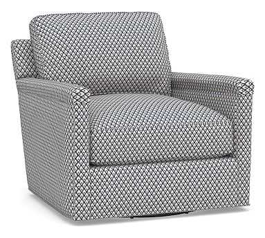 Tyler Square Arm Upholstered Swivel Armchair without Nailheads, Polyester Wrapped Cushions, Kendall Print Navy - Pottery Barn