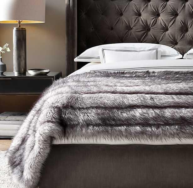 CHANNEL FAUX FUR OVERSIZED BED THROW - RH Modern