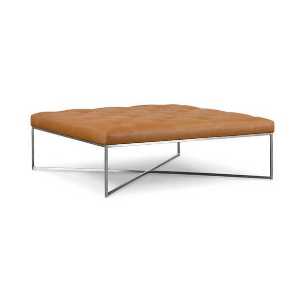 Maeve Square Ottoman Tan Chalk Leather Stainless Steel - West Elm