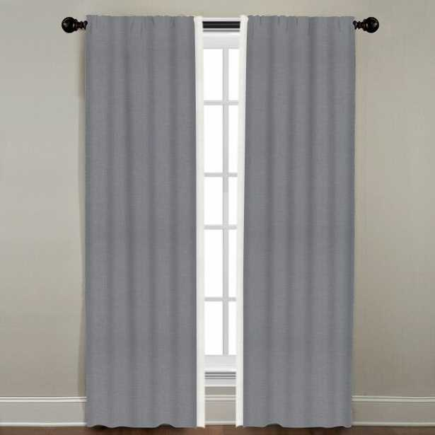 """Linen Border Drapery Single Panel, Dusk with Oyster, 96"""" - Havenly Essentials"""