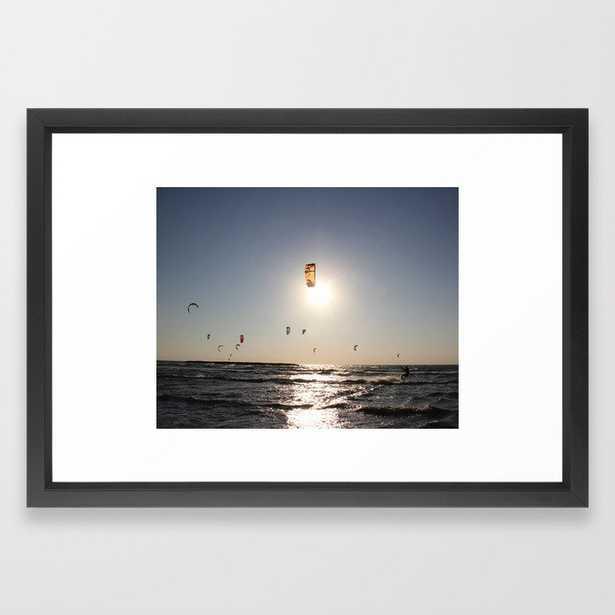 Windsurfing in Tel Aviv Framed Art Print 15x21- Vector Black Frame - Society6