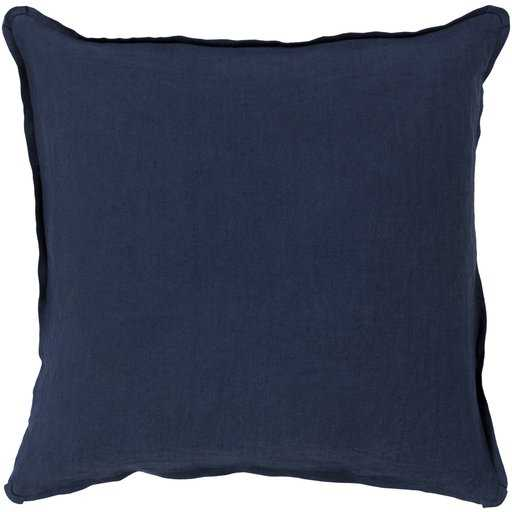 Solid Navy Linen Pillow, with down insert - Neva Home