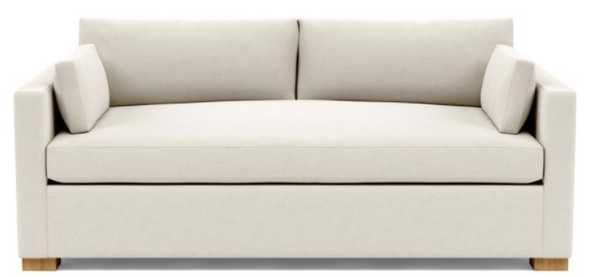 "Charly 83"" Sofa - Natural Oak Block Leg - Chalk Heathered Weave - Standard Depth - Bench Cushion - Standard Down Blend - Interior Define"