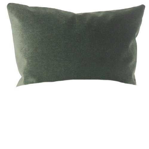 "Classic Velvet Pillow, Green, 12"" x 18"" Lumbar - Havenly Essentials"