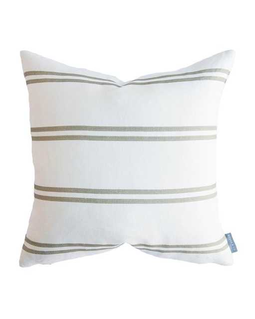 """FRANKLIN OLIVE STRIPE PILLOW WITHOUT INSERT, 14"""" x 20"""" - McGee & Co."""