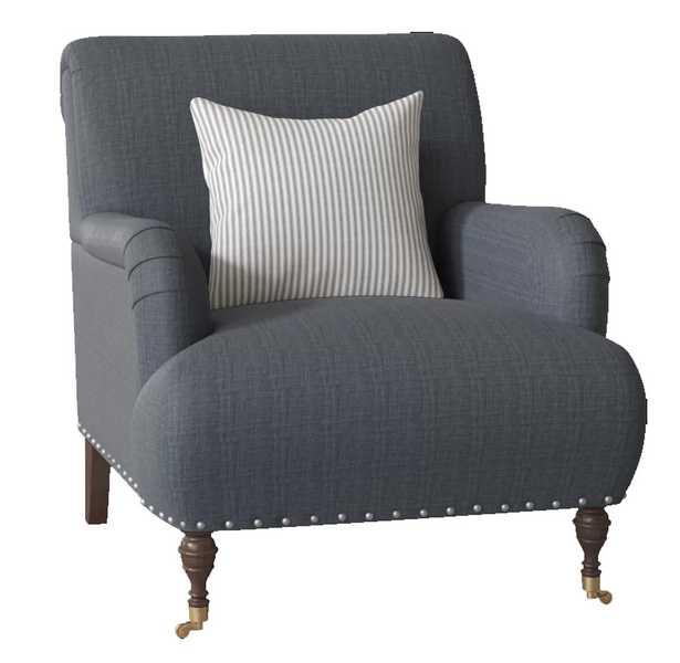 "CUSTOM: Shephard 22"" Armchair chair fabric: Fandango Indigo, Pillow fabric: Cruise Adrift, Leg: Black Walnut Brass - Birch Lane"