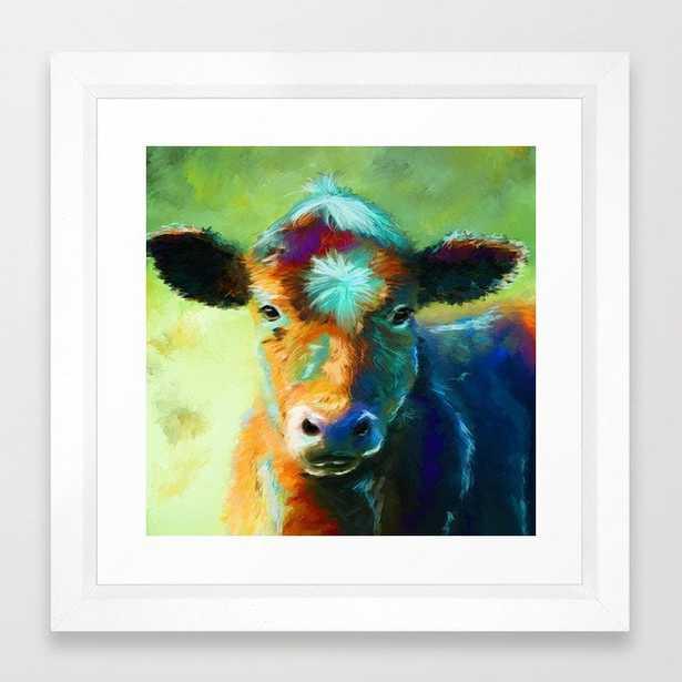 "Rainbow Calf Abstract Cow painting Framed Art Print - 12""x12"", vector white - Society6"