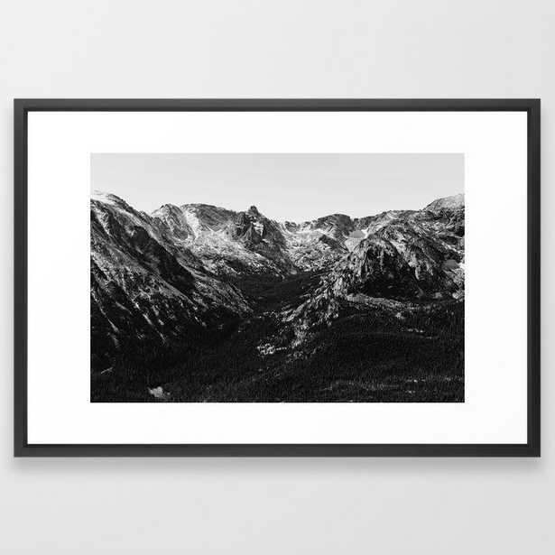"Snow Capped Mountains Framed Art Print - 26"" x 28"", vector black - Society6"