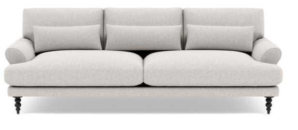 "MAXWELL Fabric Sofa, 82"", Pebble, Heathered Weave, Matte Black Tapered Turned Wood - Interior Define"