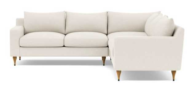 Sloan Deep Corner Sectional with White Cirrus Fabric, standard downblend cushions, and Natural Oak with Antique Cap legs - Interior Define