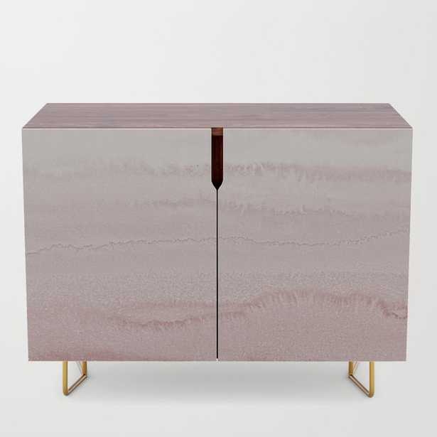 WITHIN THE TIDES - BALLERINA BLUSH Credenza - Walnut with Gold Legs - Society6