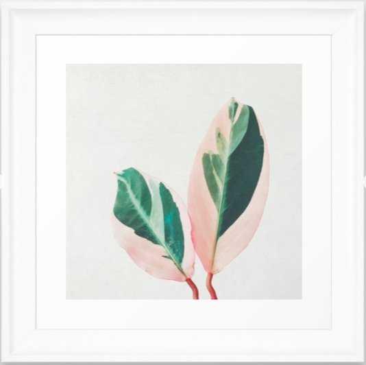 """Pink Leaves I Framed Art Print White Frame 12""""x12"""" - Society6"""