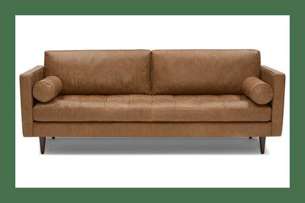 Brown Briar Mid Century Modern Leather Sofa - Santiago Camel - Mocha - Joybird