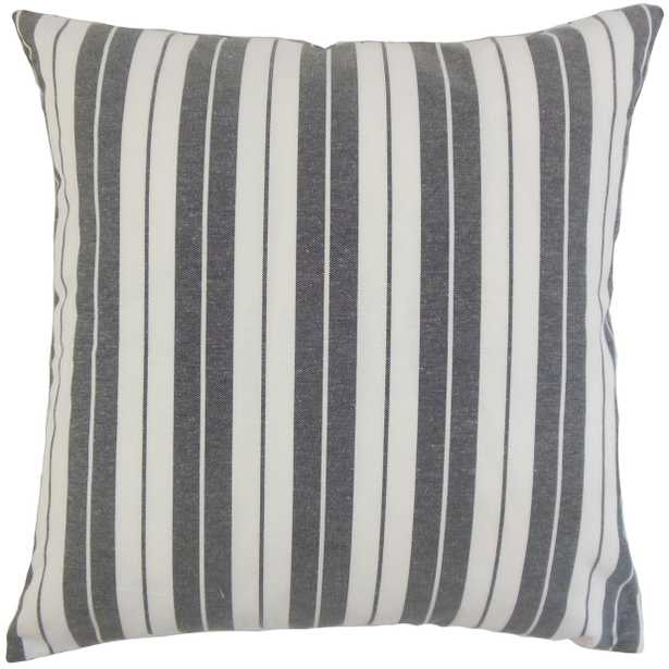 "Henley Stripe Pillow, Black, 18"" x 18"" - Havenly Essentials"