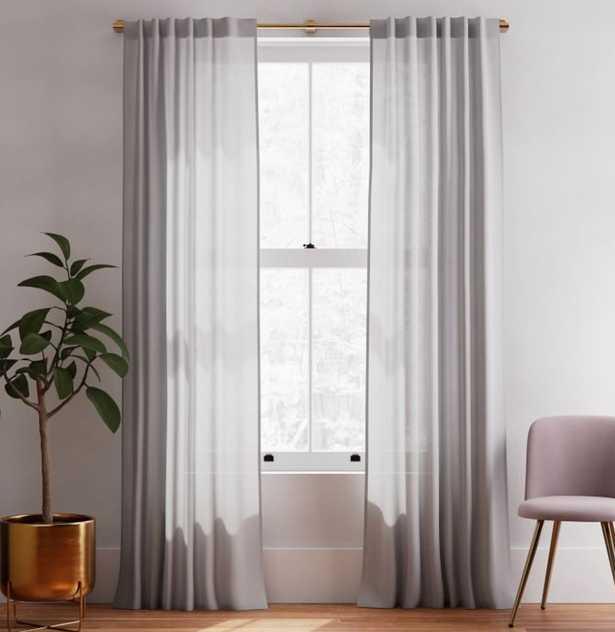 "Sheer Belgian Linen Curtain Stone Gray 48""x96"" - West Elm"