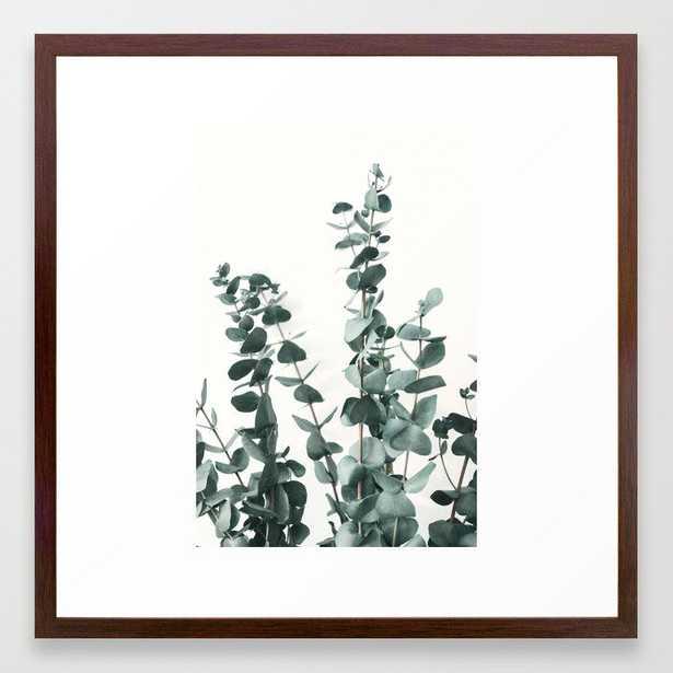 Eucalyptus Leaves Framed Art Print - 22 x 22 - Conservative Walnut Frame - Society6