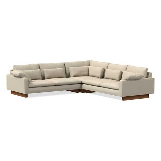 Harmony Sectional Set 07: XL Left Arm 2.5 Seater Sofa, XL Corner, XL Right Arm 2.5 Seater Sofa, Down Fill, Chenille Tweed, Silver Gray, Dark Walnut - West Elm