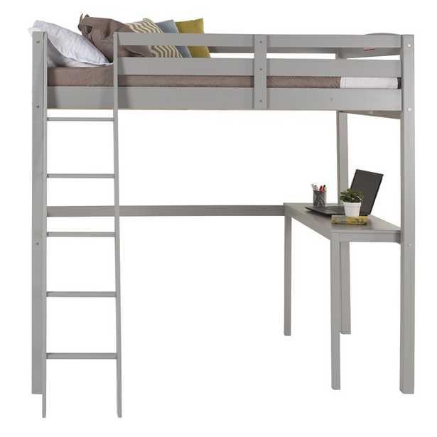Mallika Loft Panel Bed with Desk - Wayfair