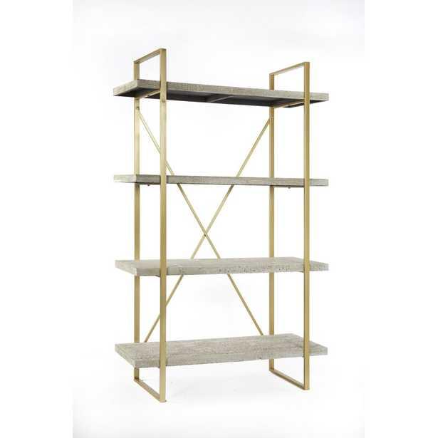 "(4 Shelves) 63"" H x 38"" W x 15"" D Antique White Cristobal Etagere Bookcase - Wayfair"