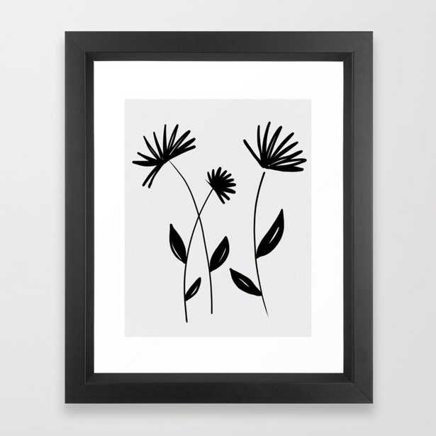 Black And White Abstract Flowers - Vector Black - Society6