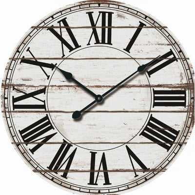 "Oversized Rustic Wood 24"" Wall Clock - Wayfair"