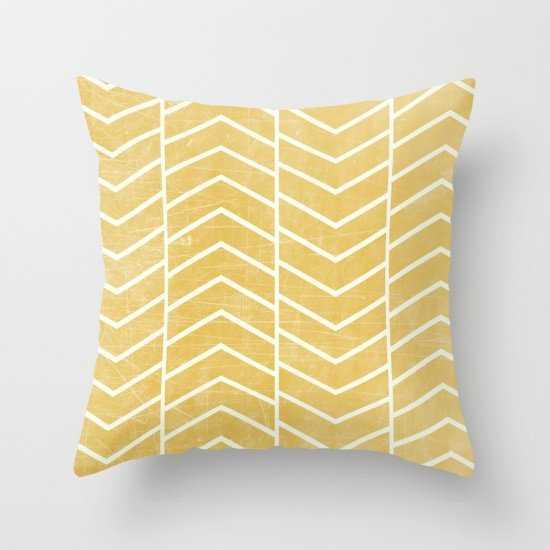 Yellow Chevron Pillow - 20x20 With Insert - Society6