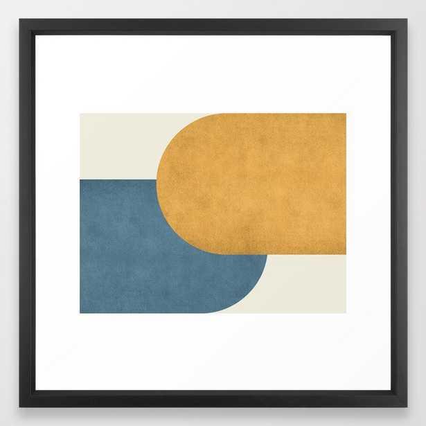 Halfmoon Colorblock - Gold Blue Framed Art Print - Society6