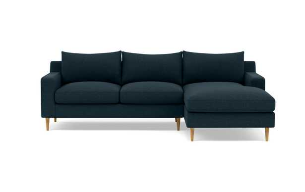 SLOAN Right Chaise Sectional-union Natural Oak Tapered Round Wood legs - Interior Define