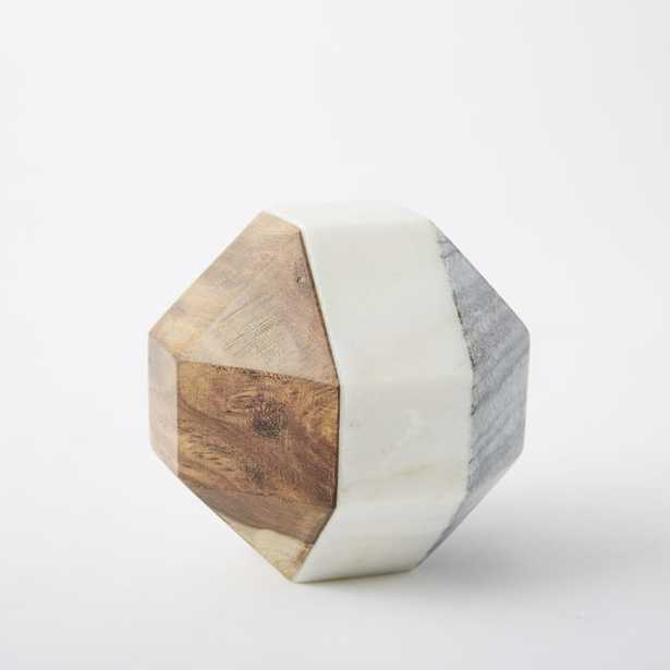 Marble + Wood Object, Small Octahedron - West Elm