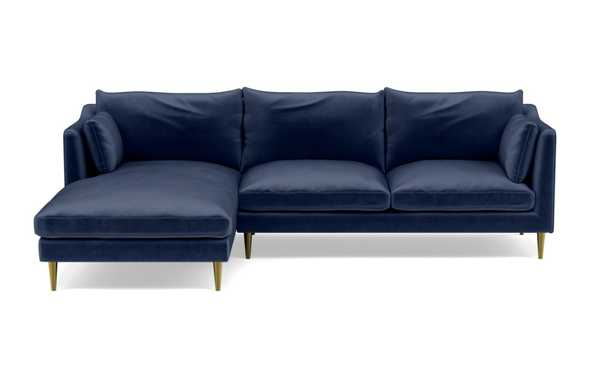 """CAITLIN BY THE EVERYGIRL Sectional Sofa with Left Chaise-98""""-2 cushion- Bergen Blue Mod Velvet- Brass Plated Tapered Round Metal - Interior Define"""