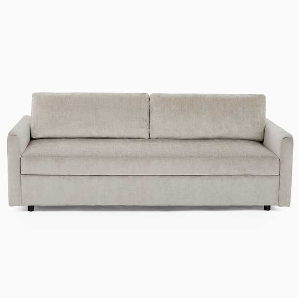 Clara Sleeper Sofa, Worn Velvet, Light Taupe, Concealed Supports - West Elm
