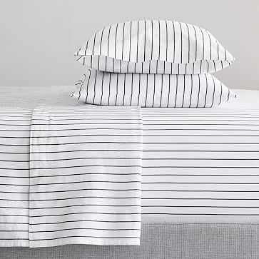 Organic Washed Cotton Simple Stripe Sheet Set, Queen, Black + White - West Elm
