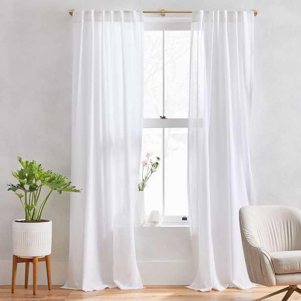 "Sheer Crosshatch Curtain, Set of 2, White, 48""x96"" - West Elm"