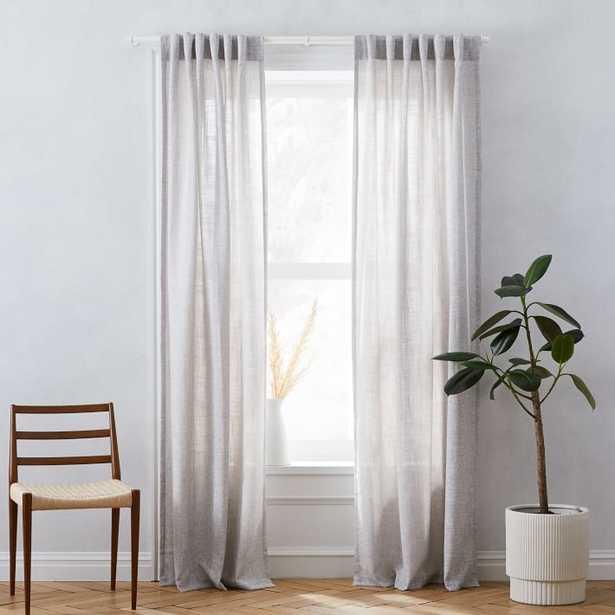 "Crossweave Curtain, Unlined, Stone White, 48""x108"" - West Elm"