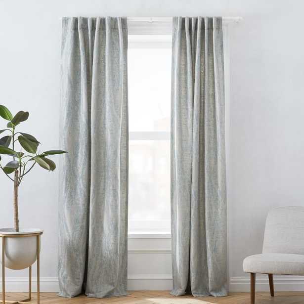 """Bark Texture Jacquard Curtain, Dusty Blue, 48""""x96"""" - West Elm"""