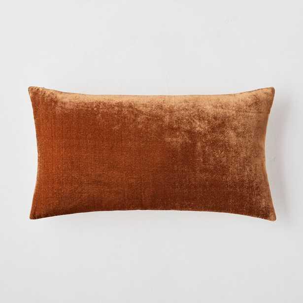 """Lush Velvet Pillow Cover, Copper, 12""""x21"""" - West Elm"""