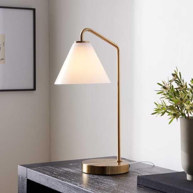 Sculptural Table Lamp, Cone Mini, Milk, Antique Brass - West Elm