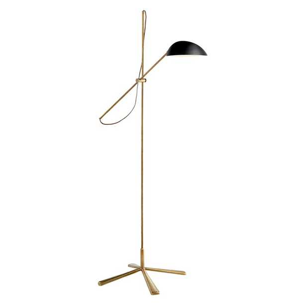 GRAPHIC FLOOR LAMP WITH BLACK SHADE - HAND-RUBBED ANTIQUE BRASS - McGee & Co.