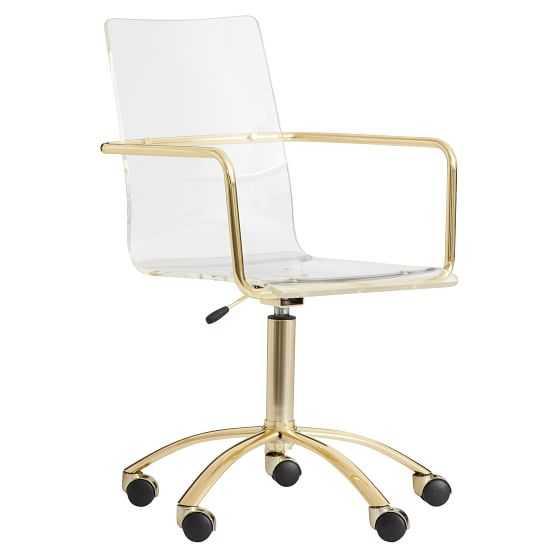 Gold Paige Acrylic Swivel Desk Chair - Pottery Barn Teen