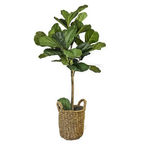 "30"" Artificial Fiddle Leaf Fig Tree in Basket - Wayfair"