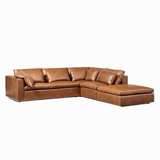 Harmony Modular Sectional Set 04: Left Arm Sofa + Corner + Armless Single + Ottoman, Down, Saddle Leather, Nut, Concealed Supports - West Elm